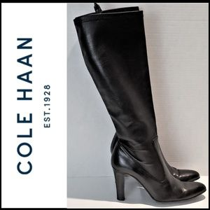 COLE HAAN 3.5″ Heel Leather Pull On Knee Boots 9B